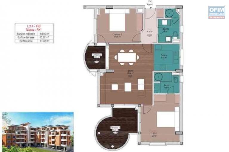 appartement T3 neuf de 91M2 en ville